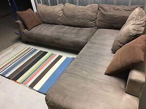 3-4 Seater L-shaped Modular Corner Sofa - Brown Suede Brooklyn Brimbank Area Preview