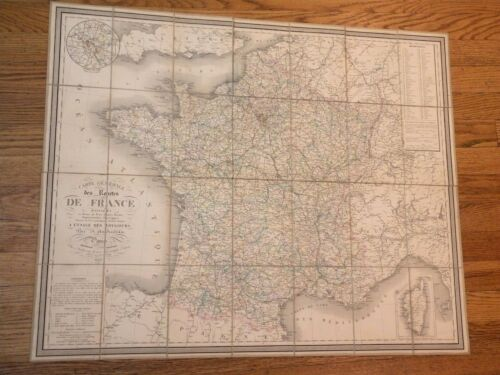 "VERY NICE, ANTIQUE 1842 France Map: ""Carte générale des routes de France.."""