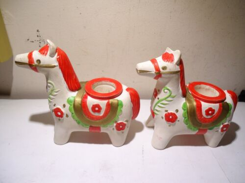 VTG 1964 HOLT HOWARD SET CANDLESTICK HOLDERS DALA WHITE HORSES RED FLOWERS JAPAN