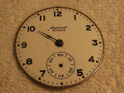 RARE Ingersoll Reliance Pocket Watch Dial Only - 16 Size