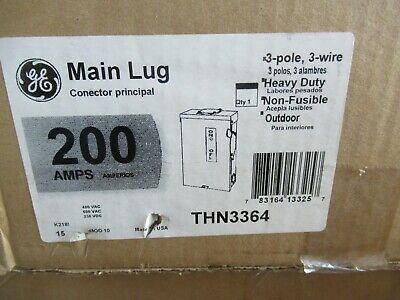 Ge Thn3364 Model 10 200 Amp 600 Volt 3ph3w Non-fused Disconnect - New-b