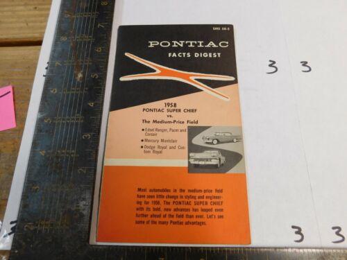 1958 PONTIAC FACTS DIGEST    DEALER USE ORIGINAL III