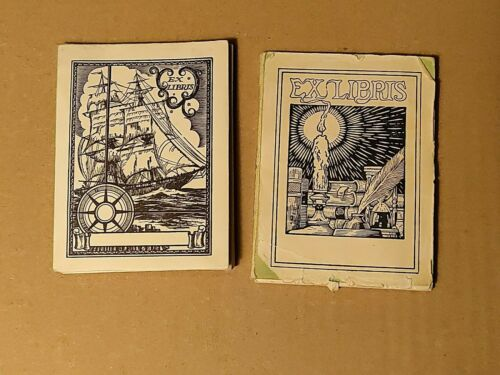 Vintage Lot of Antioch Bookplate Company Ex Libris Labels Candle Ship