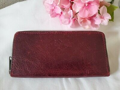 Patricia Nash Lauria Italian Leather Vintage Red  Zip Around Wallet RFID