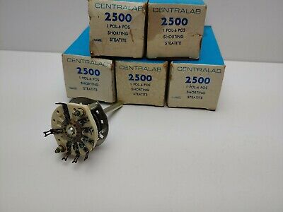 Centralab 2500 Ceramic Rotary Switch 1 Pole 6 Position Shorting Steatite