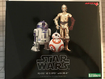 Artfx Kotobukiya Star Wars R2 D2   C 3Po With Bb 8 1 10 Scale Model Kit   Nib