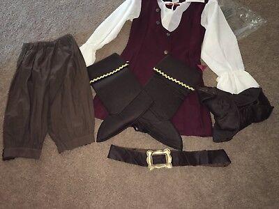 Disney Girls PIRATES of the CARIBBEAN Costume Vest/Hat/Belt/Boots/Vest/Pant Sz L (Pirates Of The Caribbean Boots)
