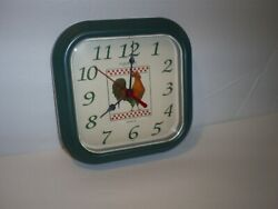 Beautiful Ingraham Rooster Chicken Green 8 3/8 Square Wall Clock