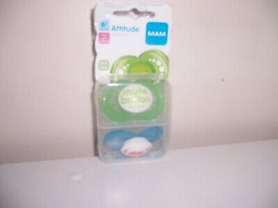 Mam Attitude 6+months green blue pacifier new