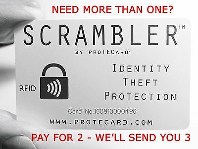 RFID BLOCKER - ONE SCRAMBLER IN YOUR WALLET PROTECTS IT ALL!