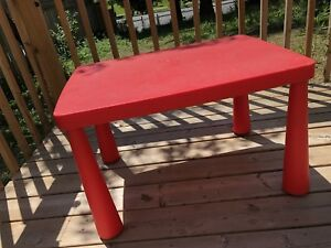 Red and blue plastic tables