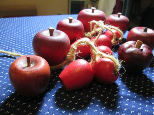 Lot Of 13 ~ Variety of Smaller Sizes ~ Red Apples, Wooden Fruit Décor, Craft