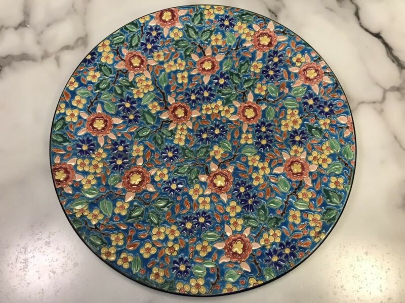 """Beautiful Large 12"""" Antique French Emaux de Longwy Enameled Wall Platter / Plate"""
