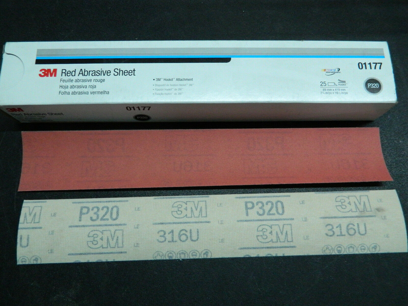 "(1) NEW 3M 01177 RED ABRASIVE HOOKIT FILE 25 SHEETS P320 GRADE 2-3/4"" x 16-1/2"""