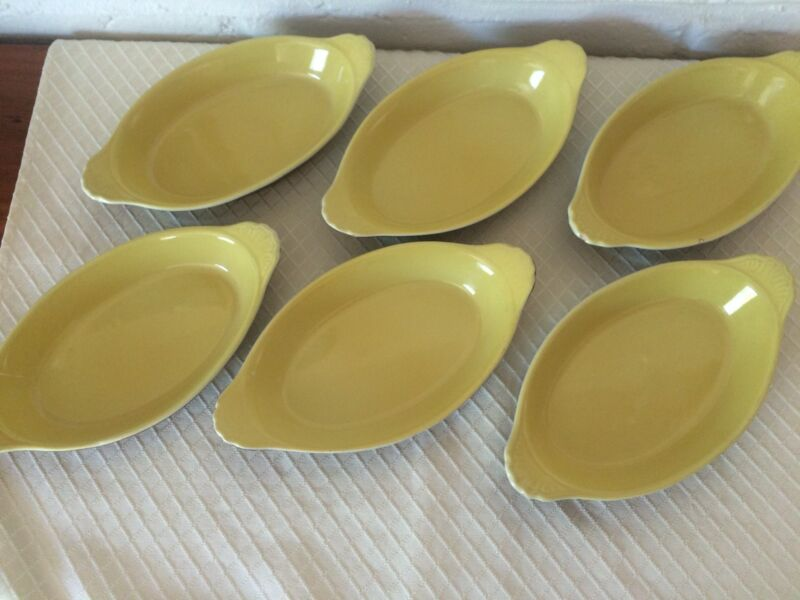 Set of 6, Vintage Hall Pottery Au Gratin Dishes, #529 Brown & Yellow