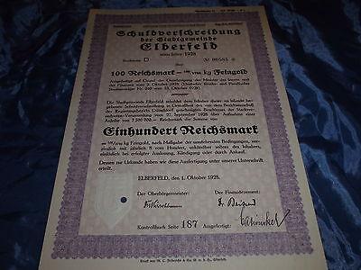 115 : histor. Wertpapier , Schuldverschreibung , Elberfeld , 1. Oktober 1928