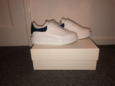 womens size 4.5 alexander mqueen trainers white and blue