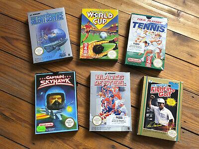 Lot de 6 boîtes de jeux Nintendo Silent Service, N World Cup, Blades of Steel..