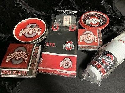 Ohio State Party Pack (1) Cups, Napkins, Plates, a Streamer, a Tablecloth Neb - Ohio State Party Supplies