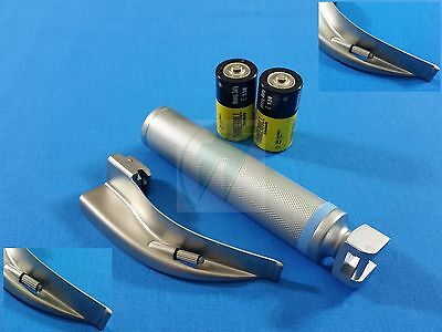 Laryngoscope Macintosh Mac Blade 2 Medium Handle Batteries Intubation Set