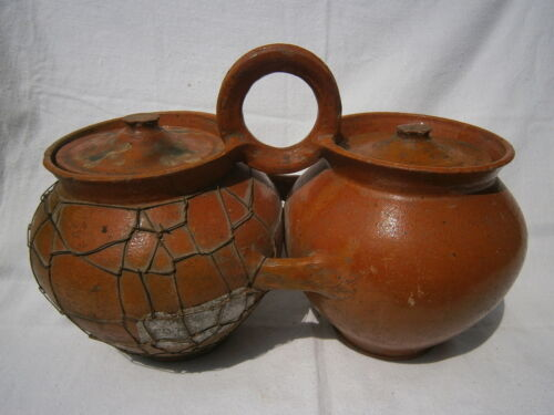 Antique Painted Glazed Clay Twin Jug Ceramic Crock Metal Patch Lid Farm Pottery