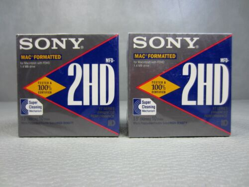 "Sealed 20-Pack Sony 3.5"" Micro Floppy Disks - MFD-2HD- Mac Formatted"