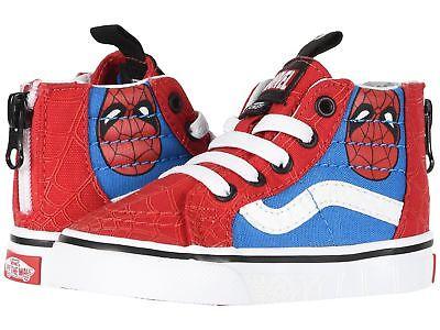 Vans Marvel Sk8 Hi Zip Toddlers Kids Sneakers Spiderman True White Red Blue - Spiderman Vans