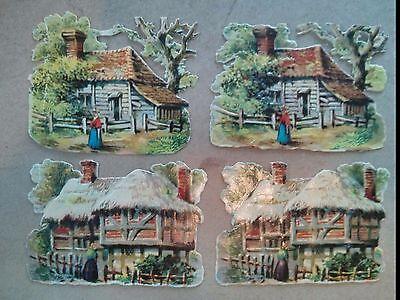 """#Original Vintage Cottages Lot of 4 Die Cut Paper 3 x 2.5"""""""