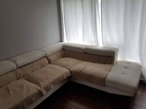 Big leather corner sofa/couch