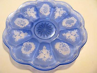 GORGEOUS VINTAGE CZECH BOHEMIAN GLASS PLATE BLUE CUT TO CLEAR