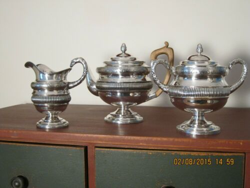 Jesse Churchill coin silver tea set c.1800