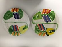 Desimone Italian Brightly Handpainted Fish Plates 26cms 1980's Fairfield Brisbane South West Preview