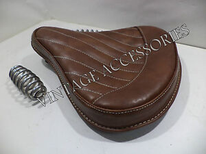 PURE LEATHER ROYAL ENFIELD STANDARD ELECTRA FRONT SOLO SADDLE SEAT ANTIQUE BROWN
