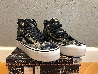 Womens Vans Black Marble Platform Shoes with Gold Spikes US Size - Vans Spikes