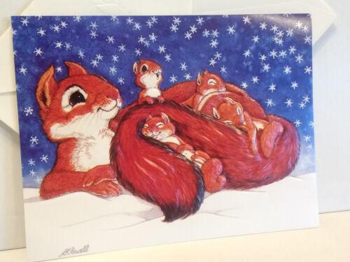 Unused Vintage Christmas Card Squirrel Family Snow Embossed Linda Powell 1983