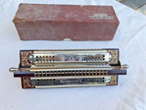 Vintage Quad Tremolo Harmonica 160 Keys of G, D, C, & F Very Clean!