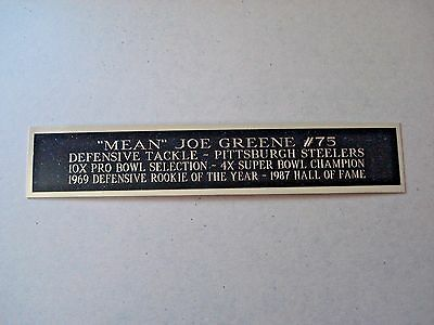 Mean Joe Greene Steelers Engraved Nameplate For A Football Case 1.5 X 6