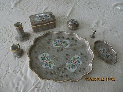 HEREND HUNGARY RARE CUBASH PATTERN 9 PC. TRAY TRINKET BOXES SET EUC