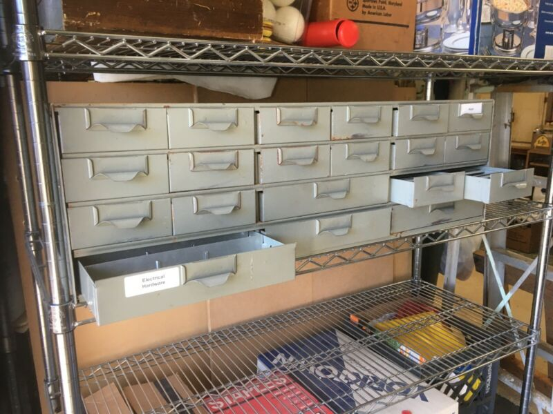 "Lyon Metal Supply Parts Bin,  34"" X 17"" X 10 1/2"" with 15 Drawers"