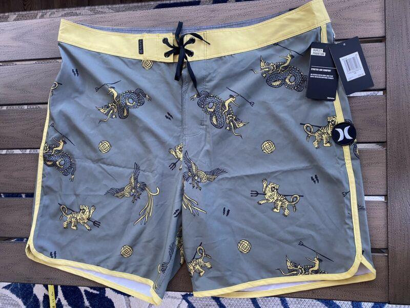 NWT Hurley Phantom Savage Board Shorts Swim Trunks  Men Size 36 Gray Yellow