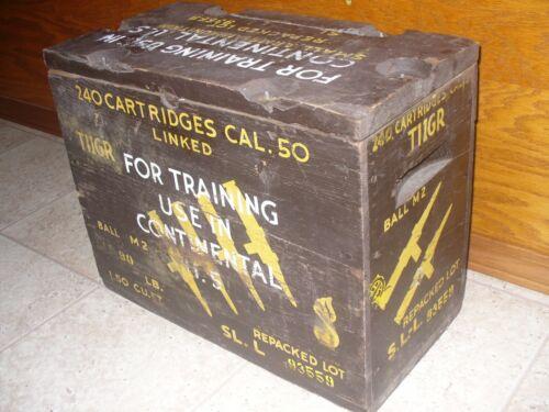 Vintage Wooden Ammo Box CAL. 50   USA Training Rounds 240   T1IGR