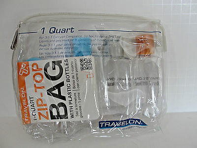 New Travelon 1-Quart Zip-Top Bag With Plastic Bottles, Style # 02037 PVC  1 Quart Zip Top Bag