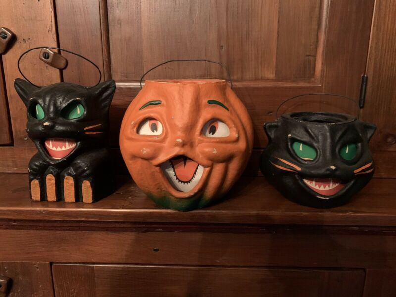 Seasons Gone By Set Of 3 Halloween Paper Mache Candy Containers VINTAGE