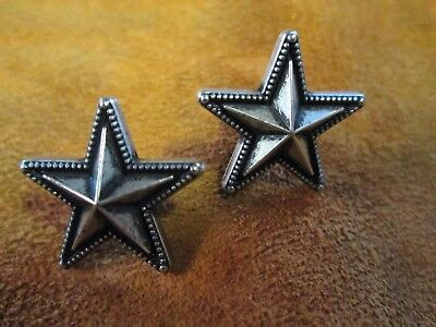 "Raised Star Conchos 3/4"" w Antique Silver Nickel Finish Post and Screw Backs"