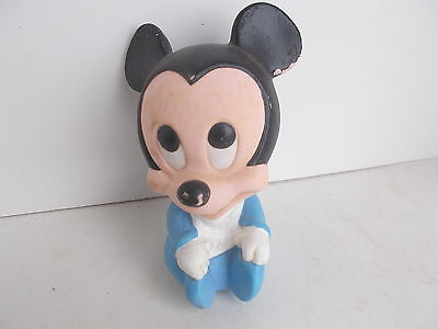 1984 Walt  Disney Co   Baby Mickey Mouse  Rubber Squeak Toy   4 1 2