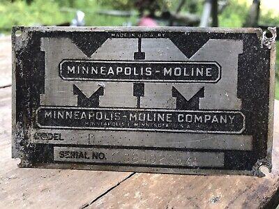 Minneapolis Moline Model D Info Plaque