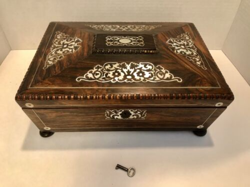 ANTIQUE ENGLISH SARCOPHAGUS SHAPE BOX WITH INLAID MOTHER OF PEARL