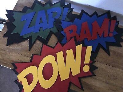 Comic Book Laser Cut wood Wall decor BAM, POW, ZAP Nursery Decor, Boys Bedroom - Comic Book Decor