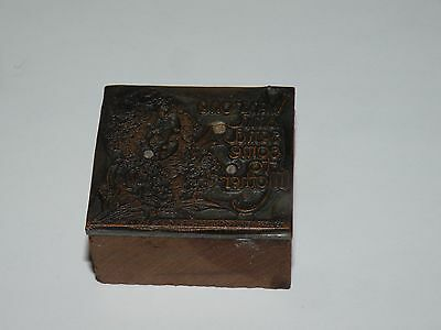 Antique Printing Print Block Stamp Child Wear One Bring One To Mother Flower