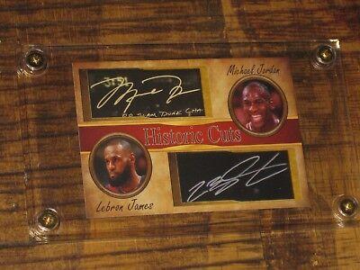 Michael Jordan & Lebron James Historic Cuts Autographed Card